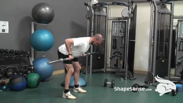 An image of a man performing the bent over barbell row exercise.