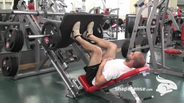 An image of a man performing the leg press exercise.