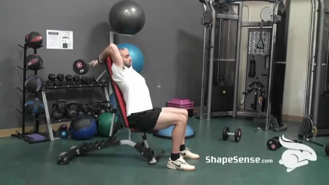 An image of a man performing the seated french press exercise.