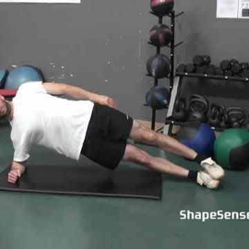An image of a man performing the side plank exercise.