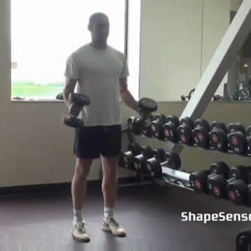 An image of a man performing the hammer curl exercise.