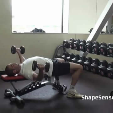 An image of a man performing the dumbbell fly exercise.