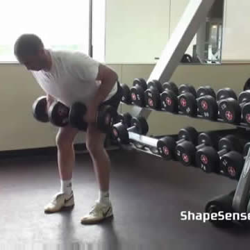 An image of a man performing the bent over dumbbell row exercise.
