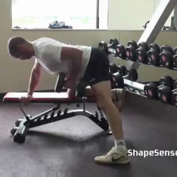 An image of a man performing the one arm dumbbell row exercise.