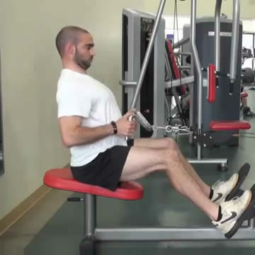 An image of a man performing the seated cable row exercise.