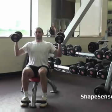An image of a man performing the Arnold press exercise.