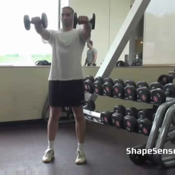 An image of a man performing the dumbbell front raise exercise.