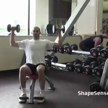 An image of a man performing the dumbbell shoulder press exercise.