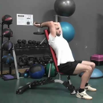 An image of a man performing the seated dumbbell tricep press exercise.