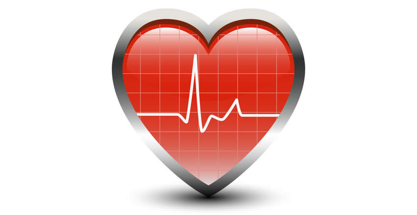 A red heart with an ECG pulse line displayed over it.