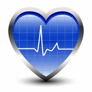A blue heart with an ECG pulse line displayed over it.