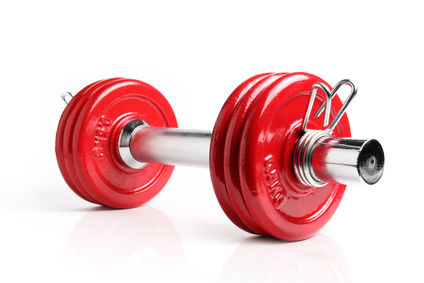a red dumbell weight