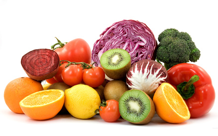 an assortment of nutritional fruits and vegetables