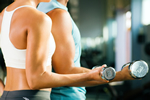 a thumbnail image of a man and a woman doing dumbell curls