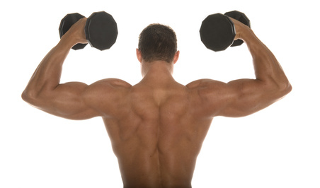 view of a man's back while he builds muscle by lifting weights