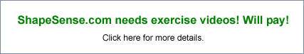ShapeSense.com banner advertisement for exercise video submissions.